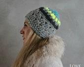 Crochet Beanie- Slouchy Hat- Grey Crochet Beanie- Womens Beanie-  Cozy Hats- Neon Beanie- Wool Winter Hat- Handmade Beanie- Hand Knit Hats