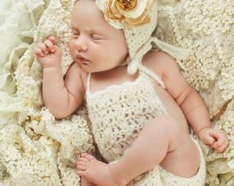 Baby Girl Romper Outfit - Newborn Photo Prop Romper Set - Newborn Bonnet Set - Baby Bonnet - Baby Romper - Newborn Photo Prop Boy - Prop