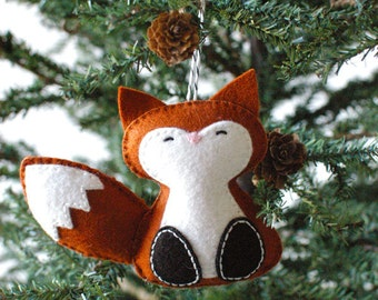 PDF patroon - bos Fox, Winter voelde Ornament patroon, kerstbal, Softie patroon