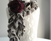 SALE - MINI textured RUFFLE scarf by Fairytale13 - taupe with berry rose brooch - Handmade in the Uk.