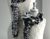 SALE - Mommy & Me set of Patchwork petal scarf by Fairytale13 - Grey stripe, lace and pleated jersey mix - handmade in the Uk.
