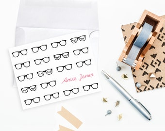 Personalized Note Card Gift Set Glasses Eyelash Holiday Gift Teacher Hipster Glasses Nerd Customized Name Stationery