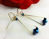 14k Gold Fill and Teal Fire Polished Crystal Bead Earrings