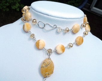 Sunshine and Clouds a Citrine and Calcite Necklace in Sterling Silver
