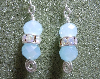 Silver and Aqua Earrings