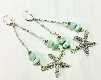 Ocean Breeze Dangle Earrings with Aquamarine and Larimar