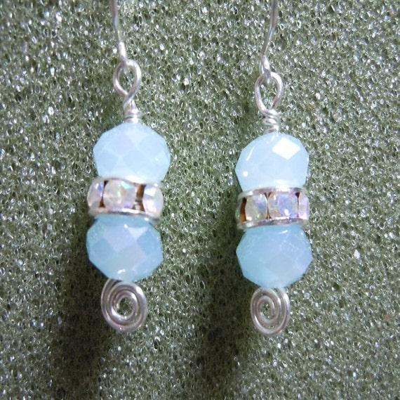 Silver and Aqua Earrings