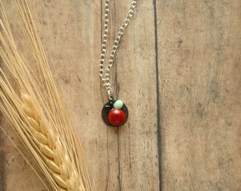 Red Glass Cherry Necklace | Miniature 3D Cameo | Rockabilly Cherries | Psychobilly | Fruit Jewelry | Glass Apple | Wearable Art Jewelry