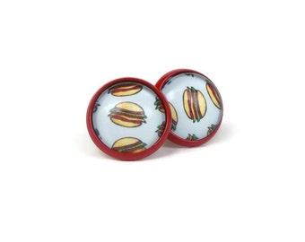 Hamburger Earrings, Funny Food Gift, Food Jewelry, Teen Gift, Gifts for Hamburger Lovers, Gifts for Foodies, Novelty Earrings, Funny Jewelry