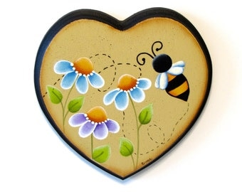 Flowers and Bee on Heart Shaped Wood, Handpainted Wall Art, Hand Painted Home Decor, Tole Decorative Painting, B7