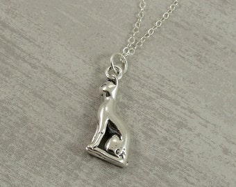 Egyptian Sphinx Cat Necklace, Sterling Silver Cat Charm on a Silver Cable Chain