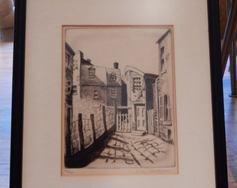Don Swann Etching Baltimore Peacock Alley Framed Signed Numbered Scenic Midcentury Art