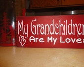 "Valentine's Decor/Valentine's Day Sign/LOVE/Wood Sign/Grandchildren Sign/Rustic Sign/Grandparents/Shelf Sitter/DAWNSPAINTING/6"" x 12"""