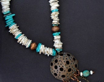 Copper Dome Pendant Necklace with Natural and Turquoise Magnesite Slices and Turquoise Dangles Gemstone Jewelry