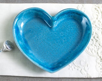 Ceramic Turquoise Heart Dish, Modern pottery handmade gift love Trinket Dish Jewelry Holder Home Decor Serving Plate IN STOCK