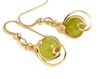 Green Garnet Small Gold Drop Earrings, Unique Gold Wire Wrapped Asymmetrical Garnet Gemstone Dangle Earrings, Green Garnet Earrings
