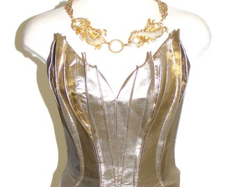 THIERRY MUGLER Vintage Bustier Gold Metallic Flame Corset - AUTHENTIC -