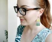 Fringe Statement Earrings, Teardrop Dangle Earrings, Gold Green or Gold white Earrings