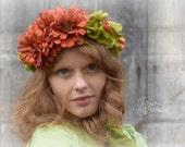 Flower Crown Circlet, Autumn Orange Fall Green Hair Wreath Tiara