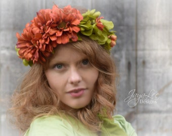Flower Crown Circlet, Orange Green Hair Wreath Tiara, Bohemian Festival Fashion