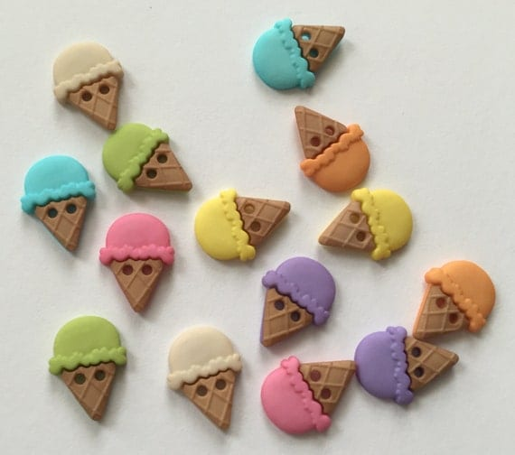 """Ice Cream Cone Buttons, Packaged Novelty Button Assortment, """"Sew Cute Ice Cream Cones"""" by Dress It Up Jesse James, Assorted Colors"""