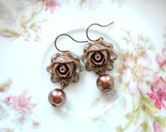Pearl Dangle Earrings Flower Earrings Dangle Pearl Earrings Romantic Jewelry Brown Rose Earrings Flower Jewelry Pearl Bridesmaid Earrings
