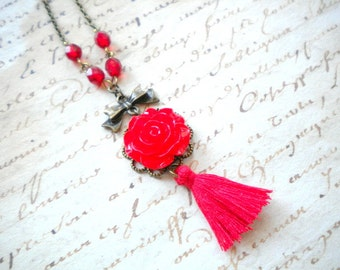 Red Necklace Red Tassel Necklace Flower Necklace Red Rose Necklace Red Jewelry Romantic Jewelry Red Flower Necklace Long Tassel Necklace