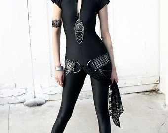 BLACK MATTE CATSUIT with short sleeves