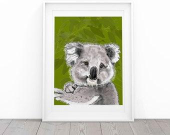 Koala Bear Print, 8.5x11 Australian Animal Art, Eucalyptus Tree, Kid's Room Artwork Children's Decor Colourful Decor, Cute Animal Koala Art