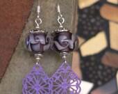 Purple earring, filigree earring, lampwork glass, dangle earring, boho earring, purple filigree, purple glass, gift for women