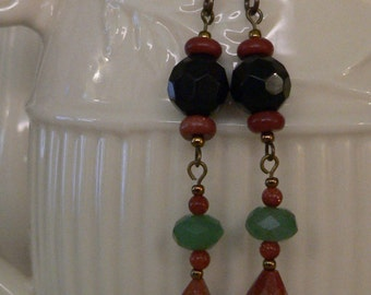 Brown earring, brown and green, long earring, dangle earring, goldstone earring, gemstone earring, black and brown