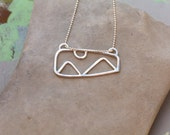 Framed Moonlit Mountain Necklace in Silver