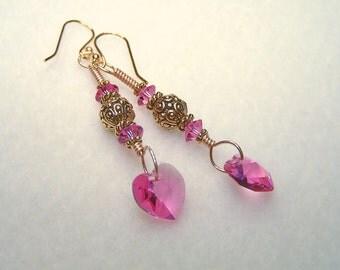 Pink Heart Earrings Crystal Earings Gold Dangle Handmade Earrings for Women Pink Crystal Heart Jewelry Gift Ideas for Her Jewlery Canada