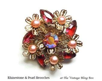 50s Pink Pearl Flower Brooch in Prong Set Rhinestone Navette & AB Crystal in Gold Filigree Motif - Vintage 50's Figural Costume Jewelry