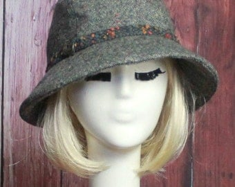 Cloche Hat Grey Wool Tweed with vintage button & band, Winter Wool Hat, Sale Hat
