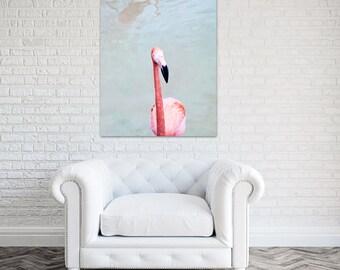 flamingo canvas art coral bathroom decor pink wall art flamingo nursery large wall art bird photography - Pink Flamingo Bath Decor