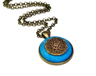 Handmade  Upcycled Vintage Button Necklace Pendant  in Brass and Turquoise, Cute Necklace, Repurposed Buttons