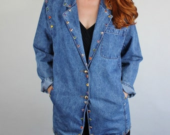 SALE - Vintage 80s Womens Geo Triangles Embellished Modern New Romantic Blue Denim Jean Jacket