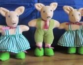Toy Piglets, Pink or White Fleece Dressed Crib Toys, Safe Toy for Tots, Pram or Cot Toy,Unusual Easter Basket Filler,Boy or Girl Gift.