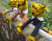Toy Long-Legged Tigers Yellow Tiger Print Plush Head  Blue Denim Grey Tweed and Tan Linen Bodies Playmates for Boy or Girl Christmas Gifts