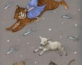 Enchanting Moon - 8x10 Fine Art Print / Fantasy Illustration, Girl Riding Tiger, Dream Adventure, Nursery Art