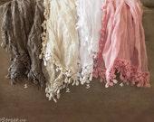 Lace Fringe Wraps, Big Wraps, Baby Lace Wrap, Baby Big Wrap, Many Colors, Baby Girl Photo Prop, newborn Props, RTS, Cotton Wrap, White, Tan