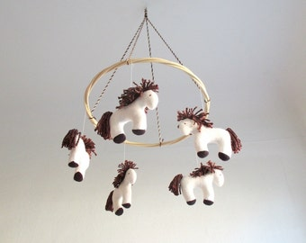 Horses, nursery mobile, white, dark brown, organic, baby, crib, nursery decor, shower gift