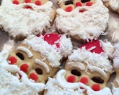 Santa Claus Sugar Cookies, Decorated Cookies, Christmas Theme, Stocking Stuffer, Party Favors, Holiday Dessert, Edible Gift, Baked Goods