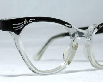 Vintage 60s Black and Silver with Clear Combo Browline Cat Eye Frames.