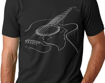 Acoustic Guitar Tshirt cool Musician T-shirt screenprinted shirt