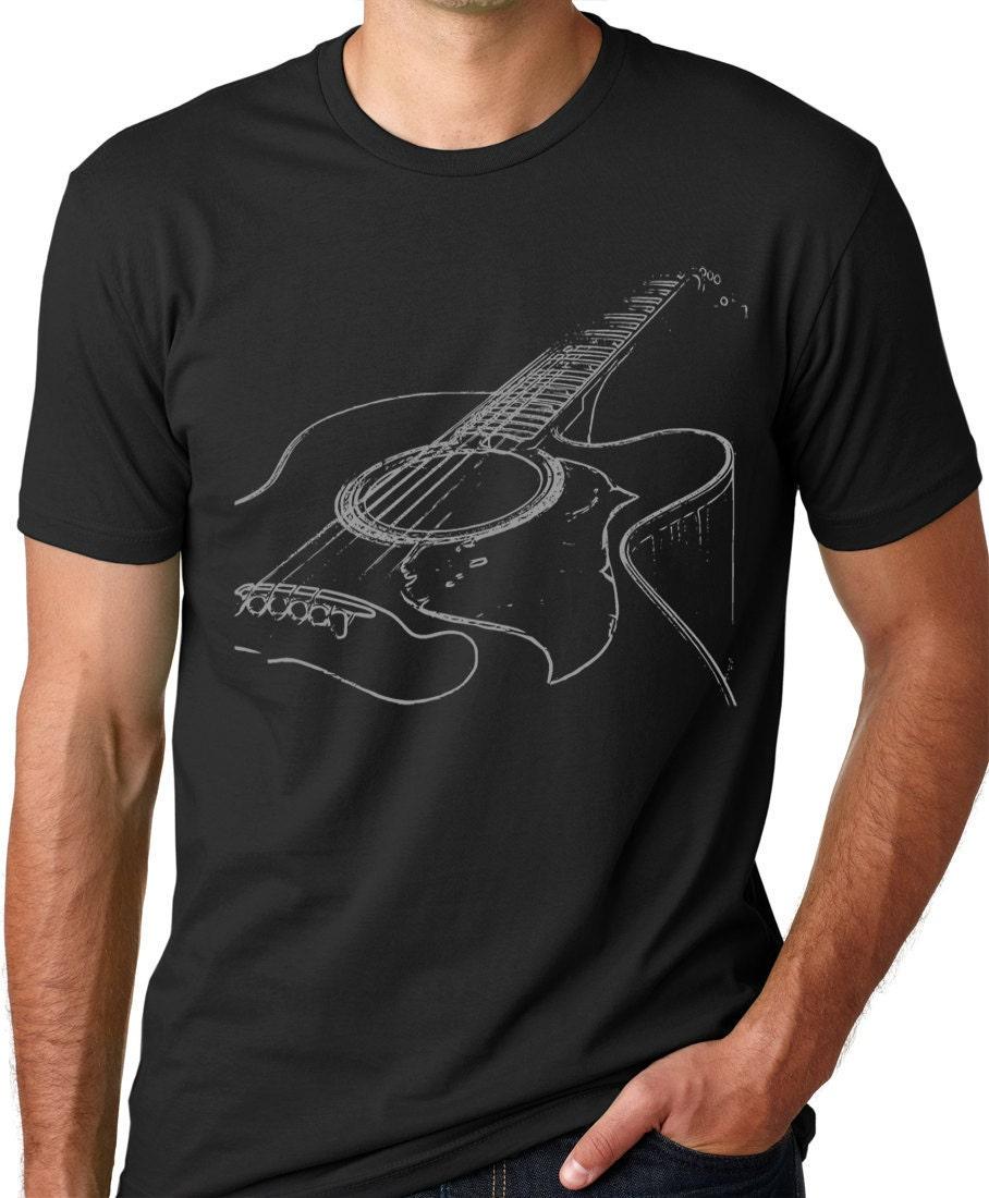 acoustic guitar tshirt cool musician t shirt screenprinted. Black Bedroom Furniture Sets. Home Design Ideas
