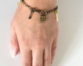 Locked Up - lock and skeleton key charm bracelet
