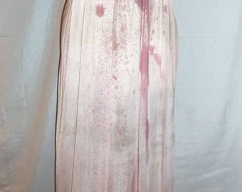 0ne of a Kind Halloween Handmade Distressed Zombie Ladies Pink Night Gown with Blood Detail