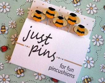 COUNTRY BEE PINS. Stick Pins Perfect for Decorating Ornaments & Pin Cushions.
